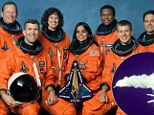 Doomed: The crew of the Space Shuttle Columbia (left to right) are David Brown, Rick Husband, Laurel Clark, Kalpana Chawla, Michael Anderson, William McCool and Ilan Ramon and the 2003 crash, right