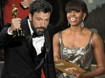 Silver linings lady! Sparking Michelle Obama presents Best Picture award to Ben Affleck's 'Argo' in surprise appearance