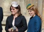 Stylish: Princess Eugenie and Princess Beatrice looked elegant for the Easter service in hats and high heels