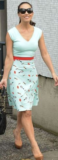 Make like Myleene in a lipstick print dress from Littlewoods