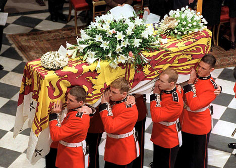 diana funeral coffin