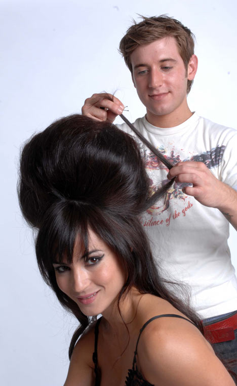 Alex Foden and model creating beehive