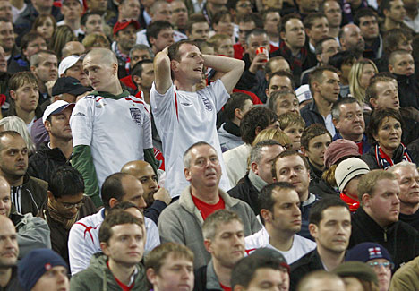 fans watch England's Euro 2008 qualification hopes disappear