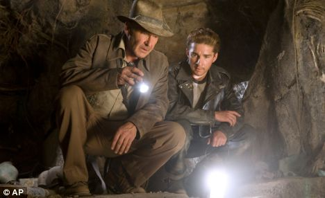 Harrison Ford (left) as Indiana Jones, co-starring with Shia LaBeouf in Indiana Jones and the Kingdom of the Crystal Skull.