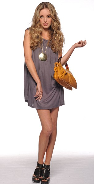 Grey T-shirt dress, £45, French Connection. Gold disc necklace, £12, Accessorize. Yellow leather bag, £40, Ollie & Nic. Chocolate leather sandals, £55, Asos.com