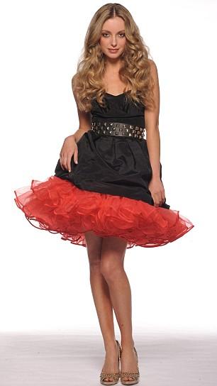 Black strapless dress, £90, Oasis. Studded belt, £15, and gold peep toes, £75, both Asos.com. Red tutu, £38, Beyond Retro