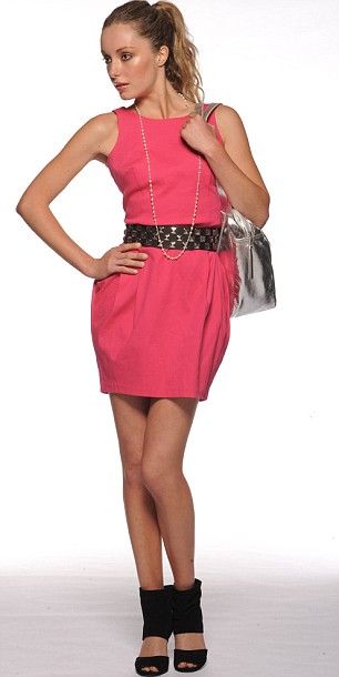 Pink bubble dress, £35, and studded belt, £15, both Asos.com. Black suede sandals, £55, Zara. Pearl necklace, £7, Accessorize. Silver shopper, £60, Oasis