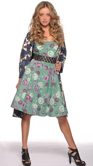 Floral coat, £110, Boden. Green floral dress, £45, studded belt, £15, and sandals, £55, all Asos.com
