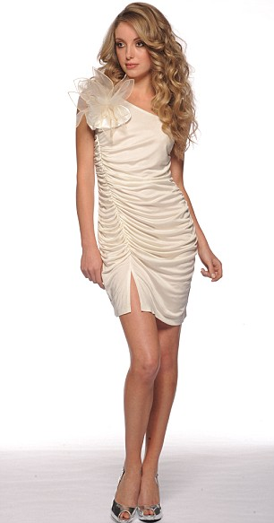 White dress with corsage, £38, Asos.com. Silver slingbacks, £35, Zara