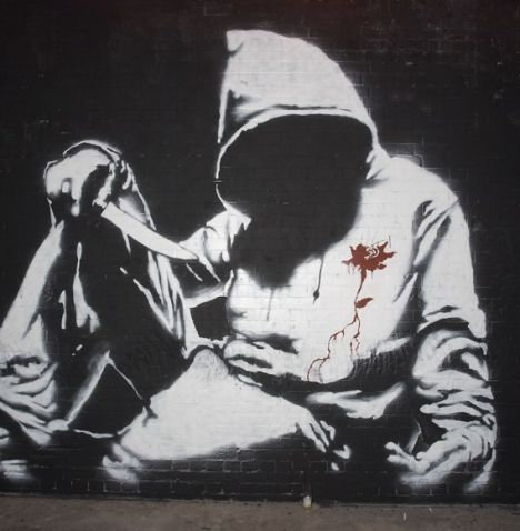 Banksy image at the Cans Festival in Leake Street
