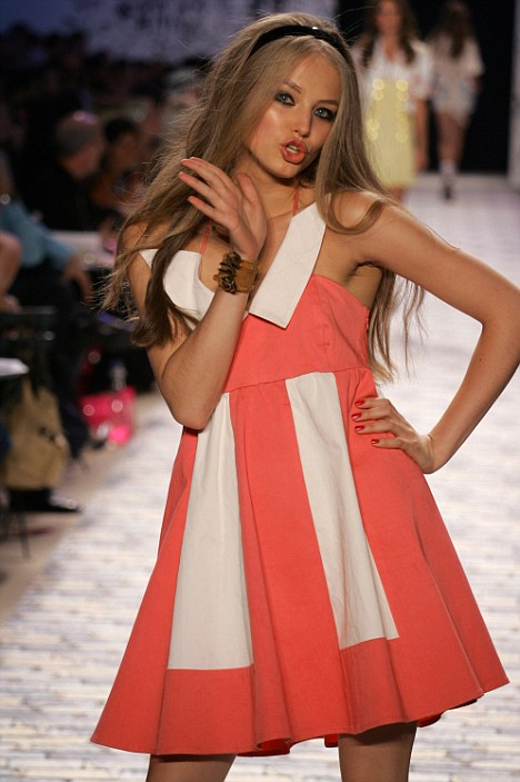 Hidden pain: Ruslana Korshunova wearing Betsey Johnson at a catwalk show in 2006