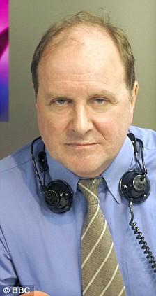 James Naughtie in studio - Presenter 'Today Programme' on BBC Radio 4.