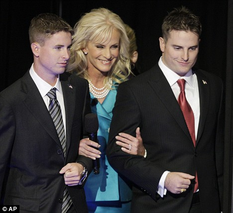 Cindy McCain with sons Jimmy and Jack