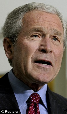 George Bush briefs the press on bail-out discussions