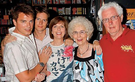 John Barrowman with his partner and family