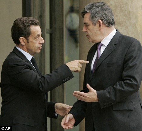 Gordon Brown, pictured here with French President, has become a model for Europe - assuming the plan works
