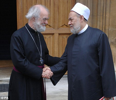 Archbishop of Canterbury Dr Rowan Williams (left) with Grand Mufti of Egypt Dr Ali Gomaa at Lambeth Palace in London today
