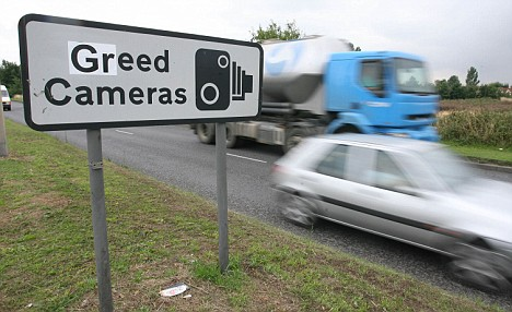 A protest near Colchester, Essex - many motorists feel the fines are too high