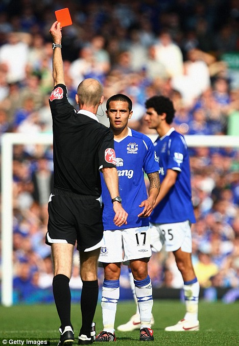 Seeing red: Everton appealed against  Mike Riley's dismissal of Tim Cahill in last month's Merseyside derby