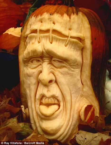 All stitched up: Frankenstein gazes out of a carved pumpkin