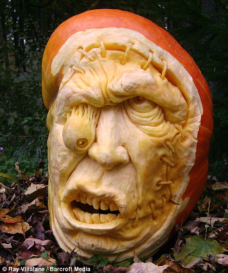 Eye for a carving: Ray says the first step is picking the perfect pumpkin, with weight being the most important factor