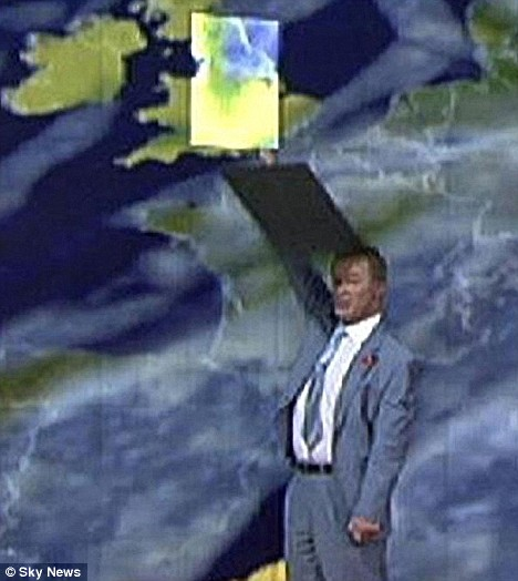 The panel hit him on the head, but the cool weatherman carried on unworried