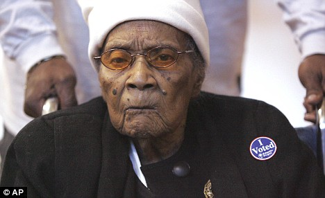 "Annie Mae Rosemond, 105, wears her ""I Voted"" sticker after casting her vote at the YWCA in Greenville, South Carolina"