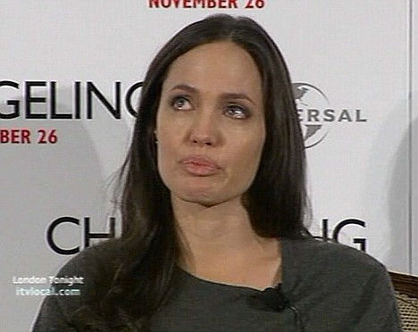 Angelina Jolie on London Tonight, showing her emotions when being interviewed for her new film Changeling