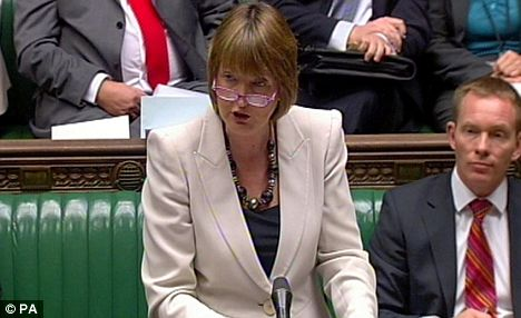 'Clampdown': Harriet Harman in the Commons today. The Government was accused of trying to limit the debate by restricting it to three hours