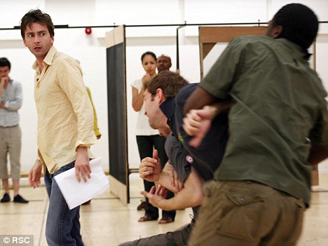 Pulling power: Tennant in rehearsals with the Royal Shakespear Company for Hamlet, which sold out in hours