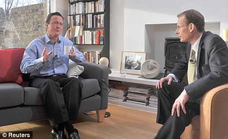 Time for a cosy chat: David Cameron, interviewed by the BBC's Andrew Marr in his London home, revealed his love of minimalist decor and heavyweight reading