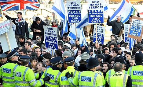 Thousands turned up for protests in Trafalgar Square on Sunday