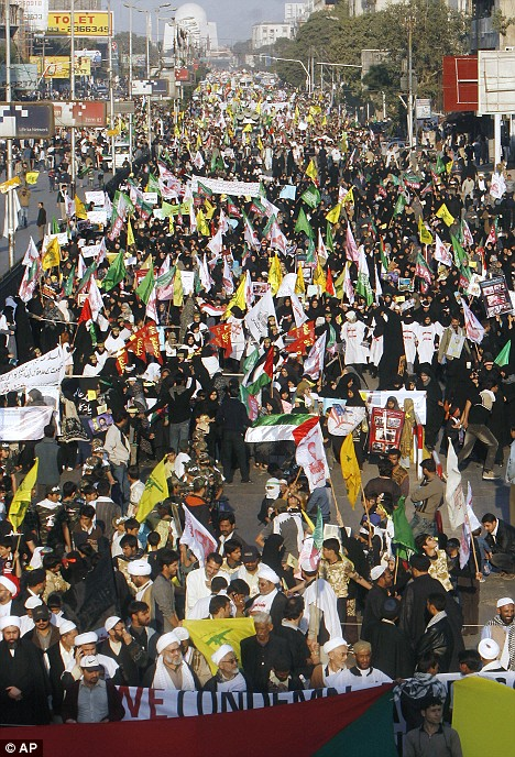 Thousands of supporters of the 'Imamia Students Organization' participate in a rally in Islamabad, Pakistan