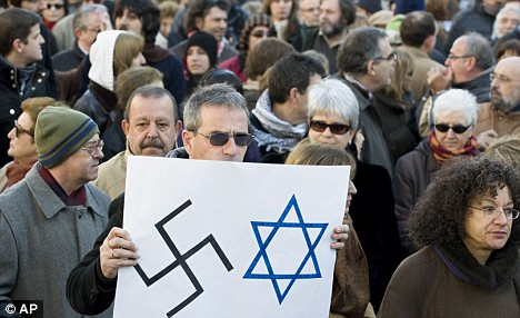 One protester makes his feelings known at the Madrid rally on Sunday