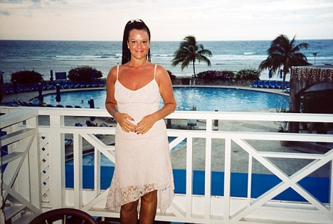 Hazel, pictured on holiday in Bermuda, says she is addicted to tanning