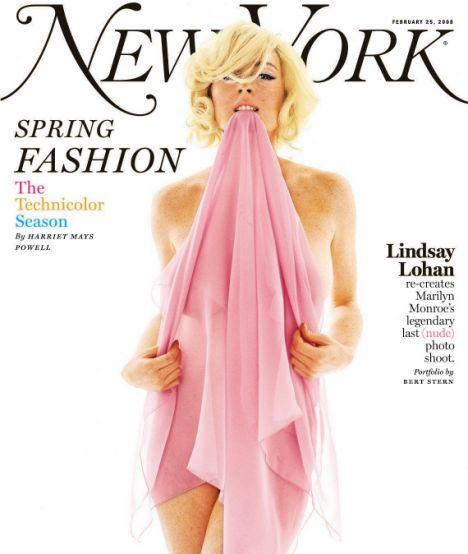 Hourglass curves: Lohan posing as Marilyn Monroe for New York magazine