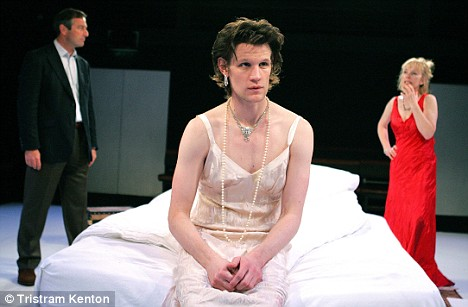 'That Face', currently showing at the Royal Court Upstairs in London. Picture shows Julian Wadham (Hugh), Matt Smith (Henry)  and  Lindsay Duncan (Martha)