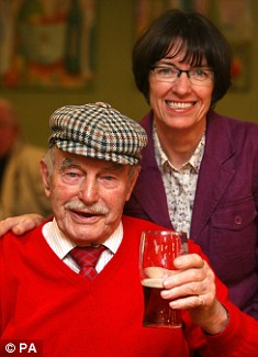 Danny Boyle's father Frank and his sister Maria celebrate at St.Mary's Catholic Social club in Radcliffe, Lancashire