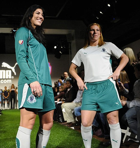 WPS players Hope Solo and Lori Chalupny of the Saint Louis Athletica
