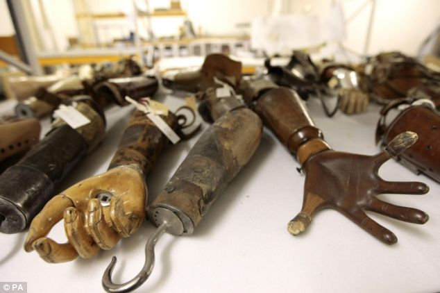 Prosthetic arms and a hook from Science Museum collection
