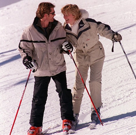 The couple on the slopes of the Alps in more lucrative times