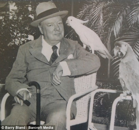 Churchill with Pinky the cockatoo