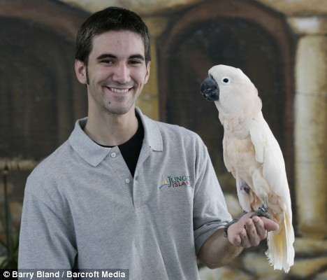 Pinky the cockatoo with Ryan Prentice