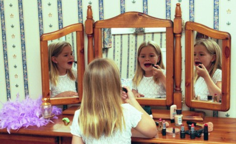 Copying Mum: Rachel Halliwell thinks it is natural for young girls to emulate their mothers by wearing make up