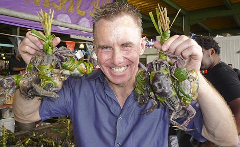 Gary Rhodes with crabs