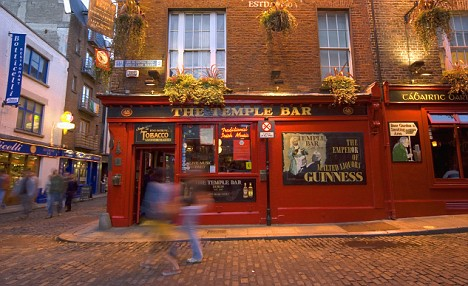 Temple Bar, a popular traditional Irish pub located in Dublin