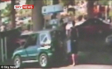 CCTV footage shows the man approaching his friend, pumping petrol into the car