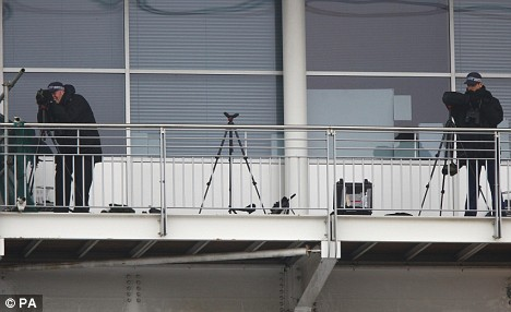 Police snipers on guard outside the Excel centre today