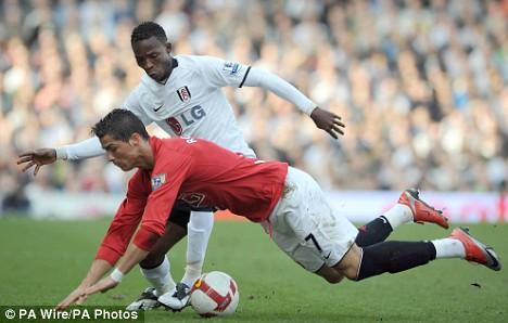 Pantsil tackles Ronaldo during last month's match