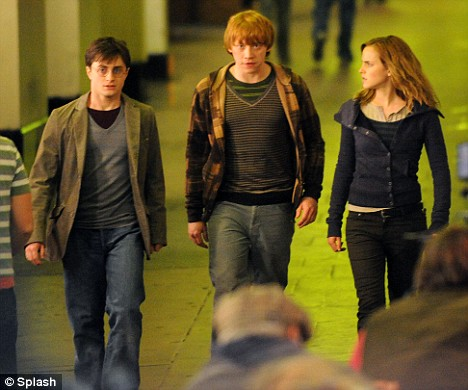 """Daniel Radcliffe, Emma Watson and Rupert Grint film scenes for the new Harry Potter film """"Harry Potter and the Deathly Hallows"""